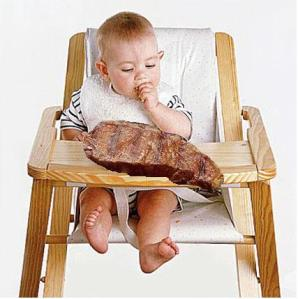 baby eating steak